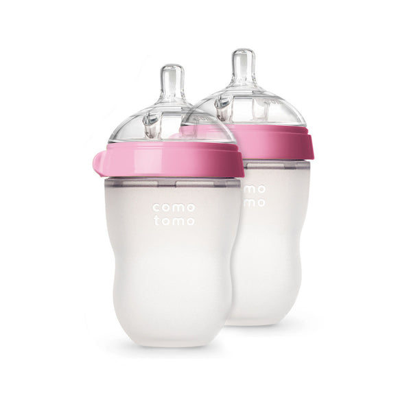 Comotomo Baby Bottle, Pink, 8 Ounce, 2 Count