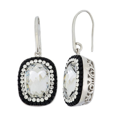 Giorgio Argento Round Clear Swarovski With Black Pave Crystal Earrings
