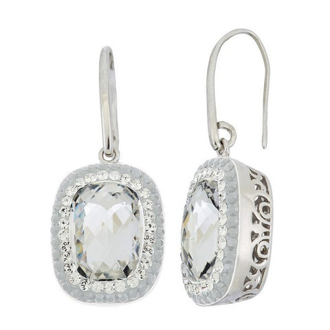 Giorgio Argento Round Clear Swarovski With White Pave Crystal Earrings