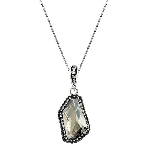 Giorgio Argento Clear Swarovski With Black Pave Crystal Pendant Necklace