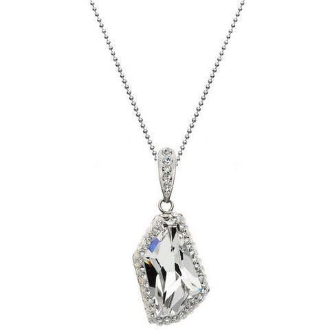 Giorgio Argento Clear Swarovski With White Pave Crystal Pendant Necklace