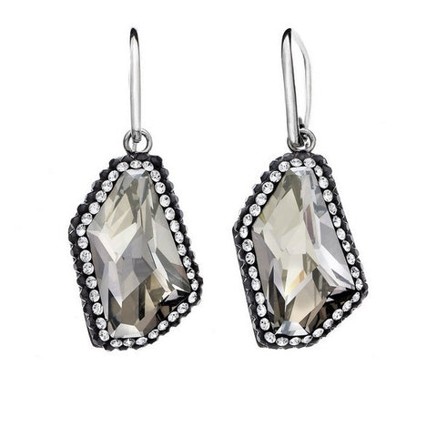 Giorgio Argento Asymetrical Clear Swarovski With Black Pave Crystal Earrings