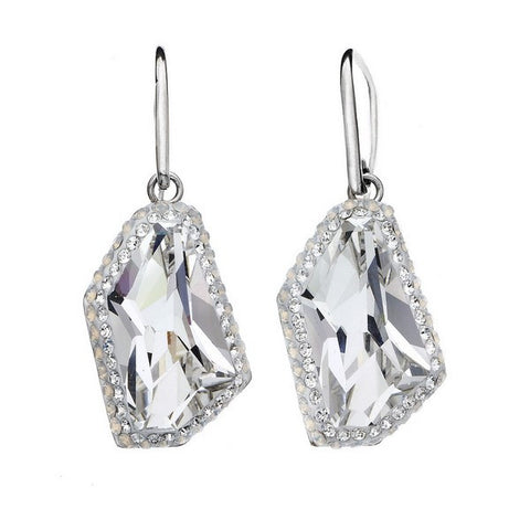 Giorgio Argento Asymetrical Clear Swarovski With White Pave Crystal Earrings
