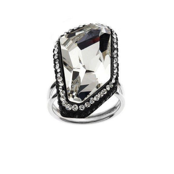 Giorgio Argento Clear Swarovski With Black Pave Crystal Ring