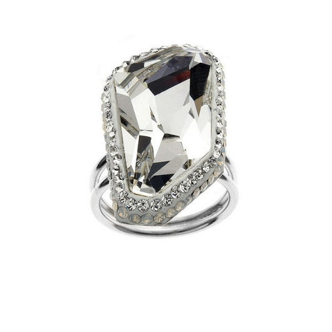 Giorgio Argento Clear Swarovski With White Pave Crystal Ring