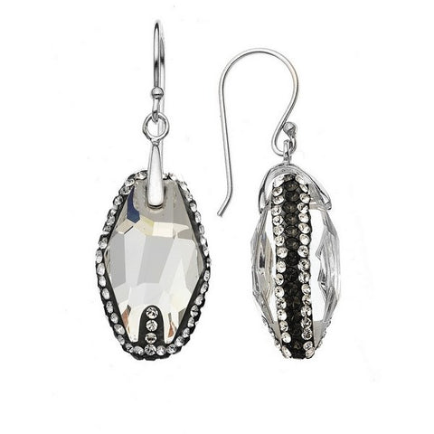 Giorgio Argento Clear Swarovski With Black Pave Crystal Earrings
