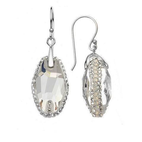 Giorgio Argento Clear Swarovski With White Pave Crystal Earrings