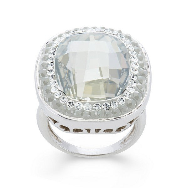 Giorgio Argento Oval Clear Swarovski With White Pave Crystal Ring