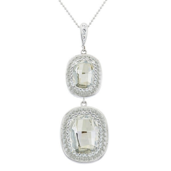 Giorgio Argento Double Round Clear Swarovski With White Pave Crystal Pendant Necklace