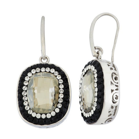 Giorgio Argento Oval Clear Swarovski With Black Pave Crystal Earrings