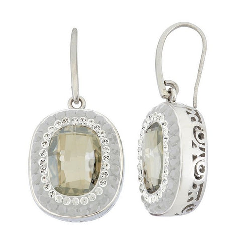 Giorgio Argento Oval Clear Swarovski With White Pave Crystal Earrings