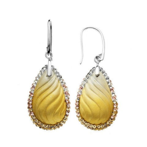 Giorgio Argento Wavy Champagne Teardrop Crystal Pendant Earrings