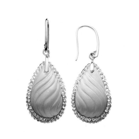 Giorgio Argento Wavy Light Gray Teardrop Crystal Pendant Earrings