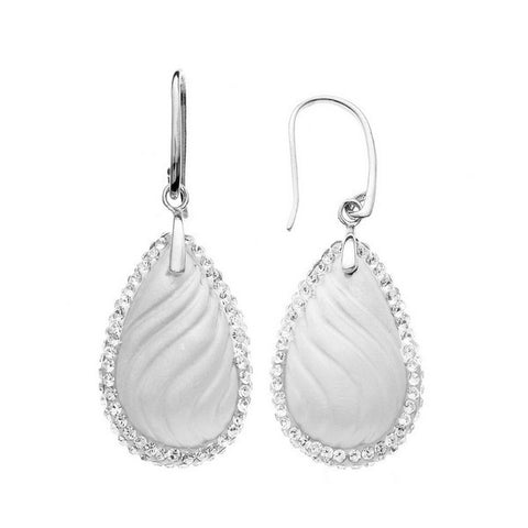Giorgio Argento Wavy White Teardrop Crystal Pendant Earrings