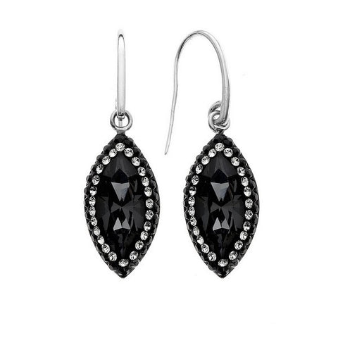 Giorgio Argento Elliptical Black Pave Crystal Earrings