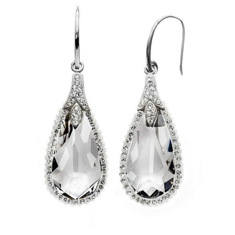 Giorgio Argento Teardrop White Pave Crystal Earrings