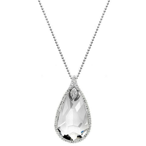 Giorgio Argento Teardrop White Pave Crystal Pendant Necklace