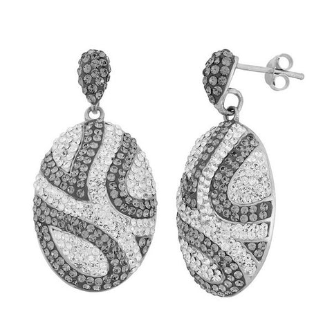 Giorgio Argento Oval Clear And Smoky Crystal Pendant Earrings