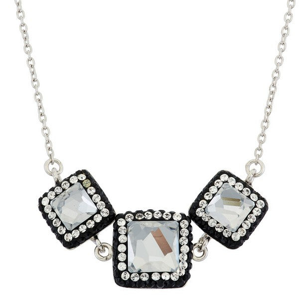 Giorgio Argento Square Swarovski With Black Pave Crystal Pendant Necklace