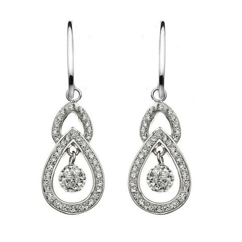 Giorgio Argento Tiered Teardrop Crystal Pendant Earrings