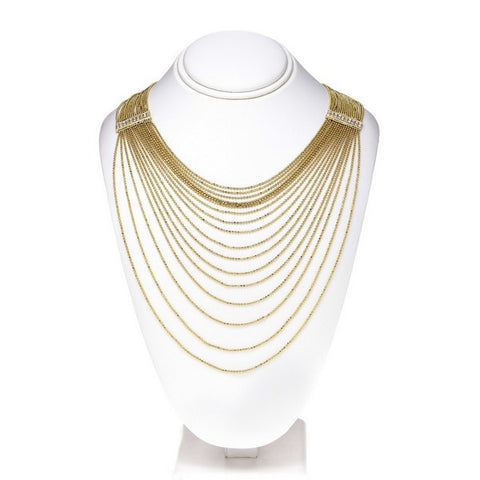 OroClone 14KT Gold Plated Drape Chain w/ Crystals rectangle