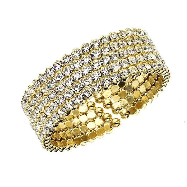 OroClone 14KT Gold Plated Five Row Honeycomb Crystals Cuff Bracelet