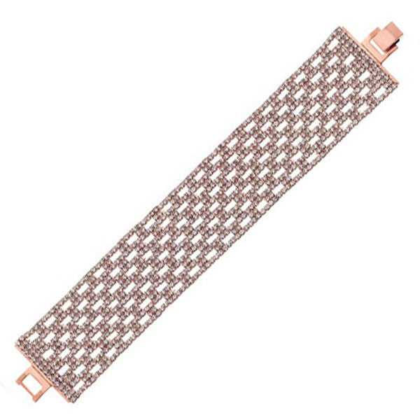 OroClone 14KT Rose Gold Plated 31.5 mm Box Pattern Crystal Bracelet