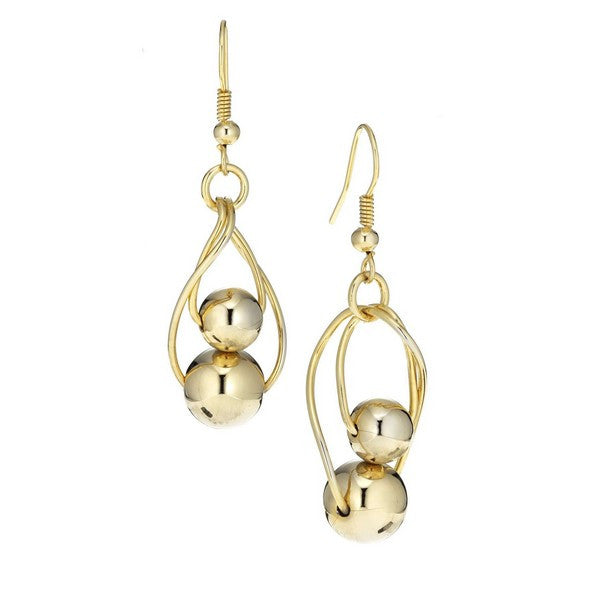 Fine Faux 14KT Gold Plate Dangle Double Bead Earring