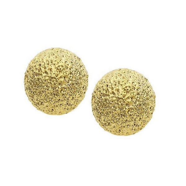 Fine Faux 14KT Gold Plate 12mm Textured Ball Earring