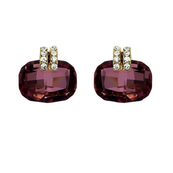 Crystal Colors Gold Plated Cushion Cut Earring with Antique Pink Swarovski Stones