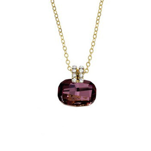 Crystal Colors Gold Plated Cushion Cut Necklace with Antique Pink Swarovski Stone