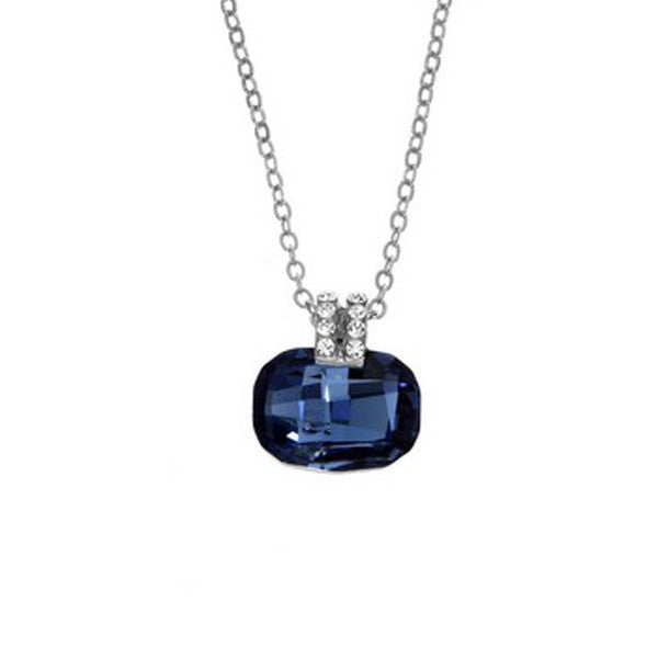 Crystal Colors Rhodium Plated Cushion Cut Necklace with Denim Blue Swarovski Stone