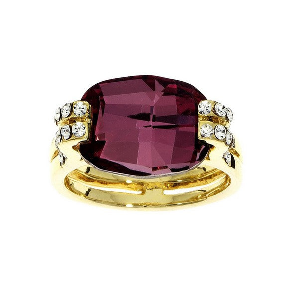 Crystal Colors Gold Plated Cushion Cut Ring with Antique Pink Swarovski Stone