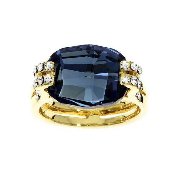 Crystal Colors Gold Plated Cushion Cut Ring with Denim Blue Swarovski Stone