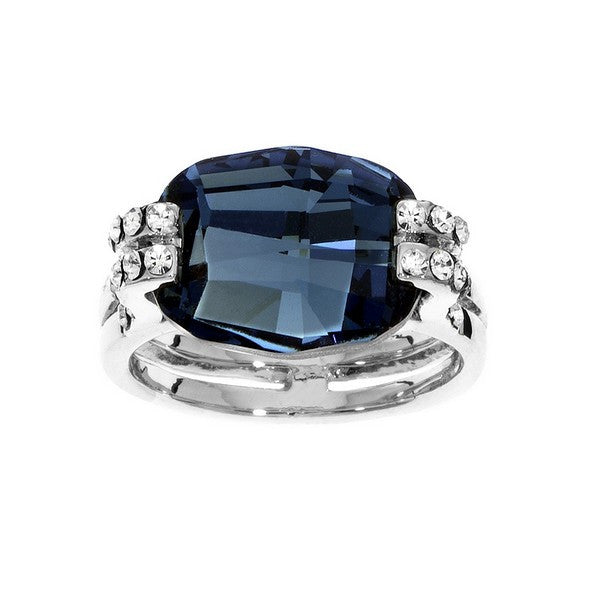 Crystal Colors Rhodium Plated Cushion Cut Ring with Denim Blue Swarovski Stone