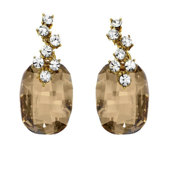 Crystal Colors Gold Plated Emerald Cut Earring with Gold Shadow Swarovski Stones and cluster of white crystals