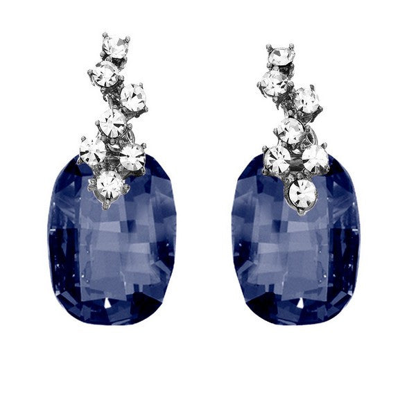 Crystal Colors Rhodium Plated Earring with Blue Denim Swarovski Stones and cluster of white crystals