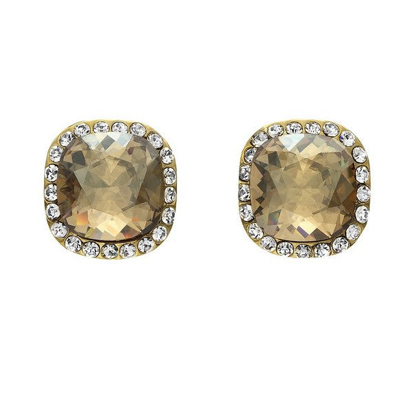 Crystal Colors Gold Plated Princess Cut Earring with Golden Shadow Swarovski Stones surrounded by white crystals