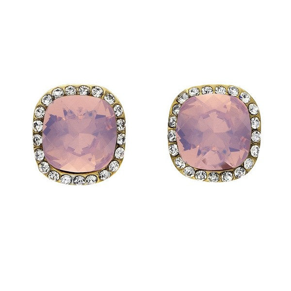 Crystal Colors Gold Plated Princess Cut Earring with Pink Opal Swarovski Stones surrounded by white crystals