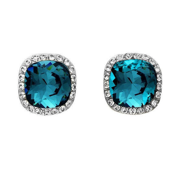 Crystal Colors Rhodium Plated Princess Cut Earring with Blue Swarovski Stones surrounded by white crystals