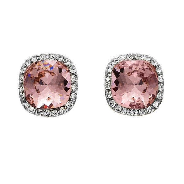 Crystal Colors Rhodium Plated Princess Cut Earring with Vintage Rose Swarovski Stones surrounded by white crystals