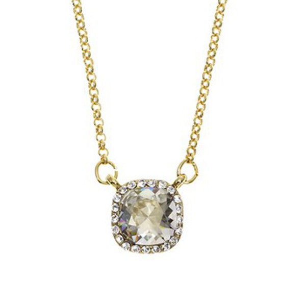 Crystal Colors Gold Plated Princess Cut Necklace with Silver Shadow Swarovski Stones surrounded by white crystals