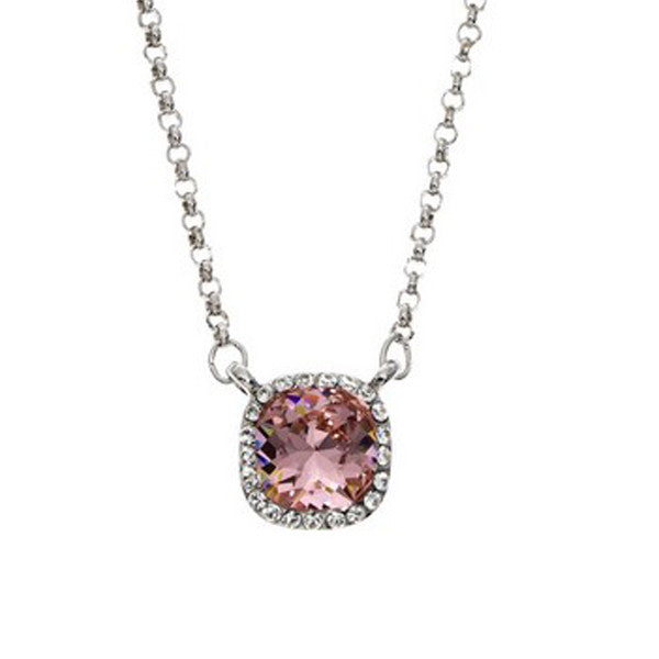 Crystal Colors Rhodium Plated Princess Cut Necklace with Vintage Rose Swarovski Stones surrounded by white crystals