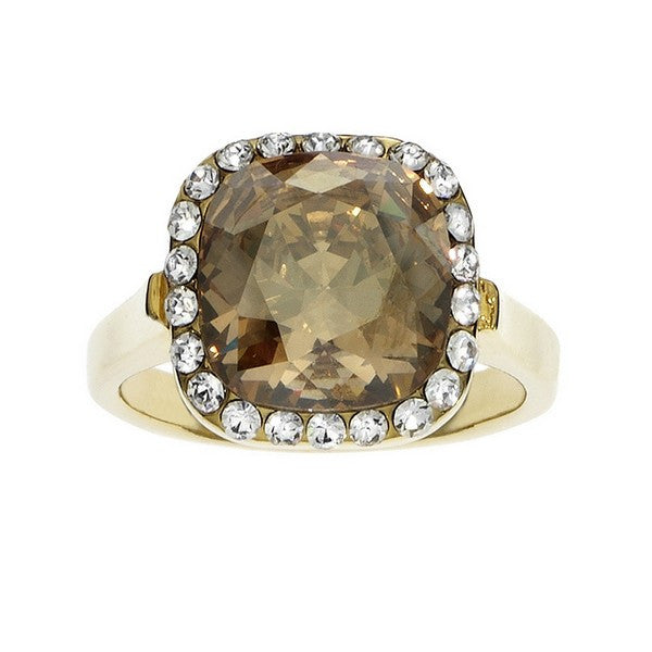 Crystal Colors Gold Plated Princess Cut Ring with Golden Shadow Swarovski Stone surrounded by white crystals