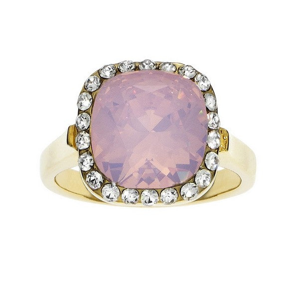 Crystal Colors Gold Plated Princess Cut Ring with Pink Opal Swarovski Stone surrounded by white crystals