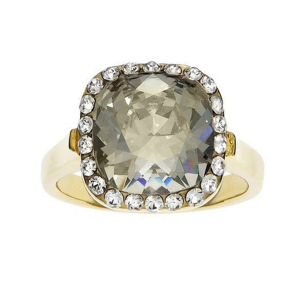 Crystal Colors Gold Plated Princess Cut Ring with Silver Shadow Swarovski Stone surrounded by white crystals