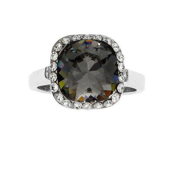 Crystal Colors Rhodium Plated Princess Cut Ring with Blue Denim Swarovski Stone surrounded by white cystals