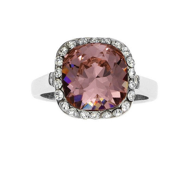 Crystal Colors Rhodium Plated Princess Cut Ring with Vintage Rose Swarovski Stone surrounded by white cystals