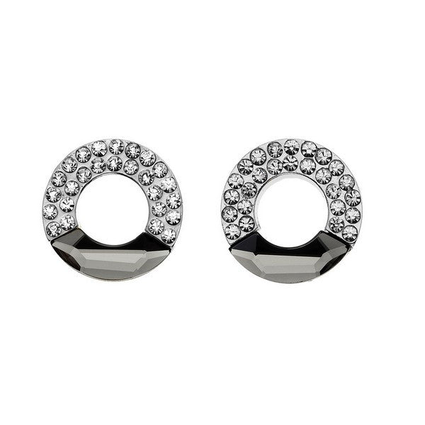 Crystal Colors Rhodium Plated Cirlce Earring studded with white crystal and Moon cut Black Diamond Swarovski Stones