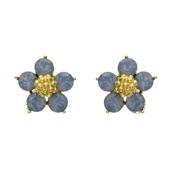 Crystal Colors Gold Plated Five Pedal Flower Earring with Blue Opal Swarovski Stones